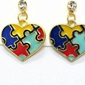 Jewelry - Autism Awareness Enamel Puzzle Heart Earrings